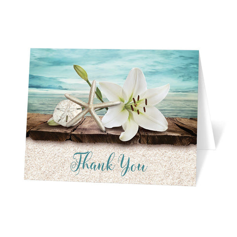 Beach Thank You Cards - Lily Seashells and Sand Beach Thank You Cards at Artistically Invited