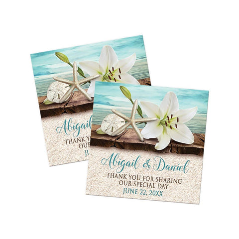 Lily Seashells and Sand Beach Thank You Stickers at Artistically Invited