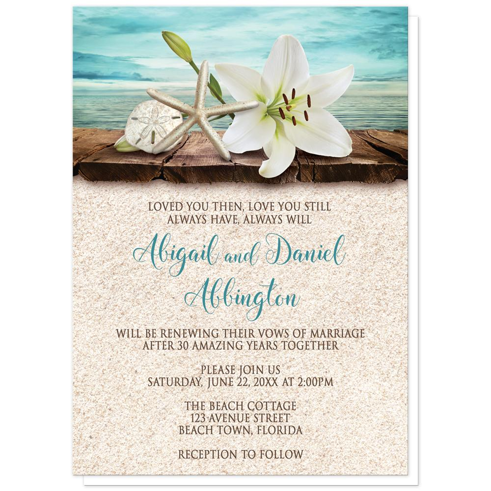 Lily Seashells And Sand Beach Vow Renewal Invitations