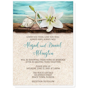 Lily Seashells and Sand Beach Vow Renewal Invitations at Artistically Invited