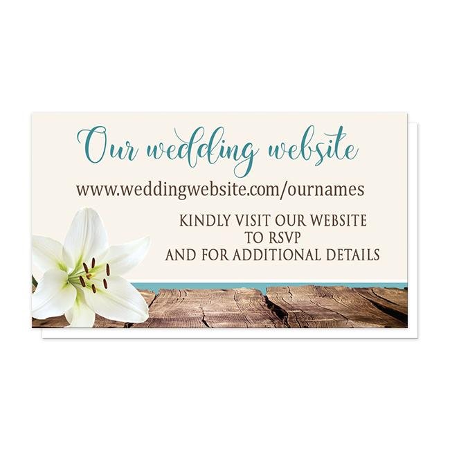Lily Beach Wedding Website Cards at Artistically Invited