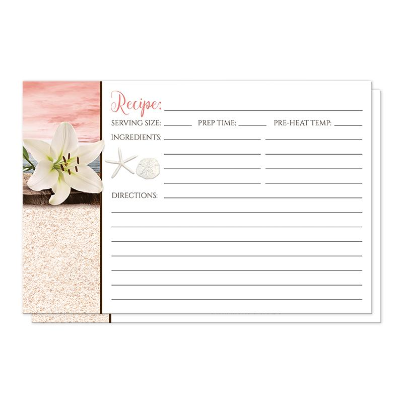 Lily Seashells and Sand Coral Beach Recipe Cards at Artistically Invited