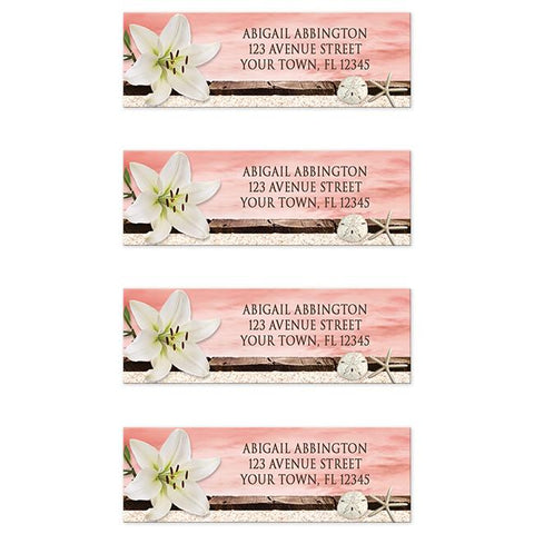 Lily Seashells Sand Coral Beach Address Labels at Artistically Invited