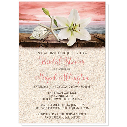 Lily Seashells Sand Coral Beach Bridal Shower Invitations at Artistically Invited