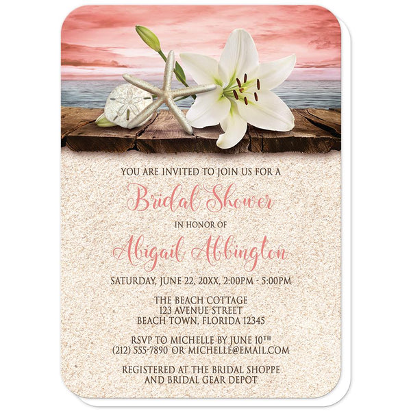 Lily Seashells Sand Coral Beach Bridal Shower Invitations (rounded corners) at Artistically Invited
