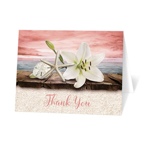 Lily Seashells and Sand Coral Beach Thank You Cards at Artistically Invited