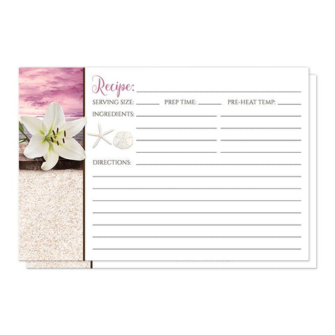 Beach Recipe Cards - Lily Seashells Sand Magenta Beach Recipe Cards at Artistically Invited