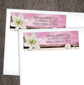 Lily Seashells Sand Magenta Beach Address Labels at Artistically Invited