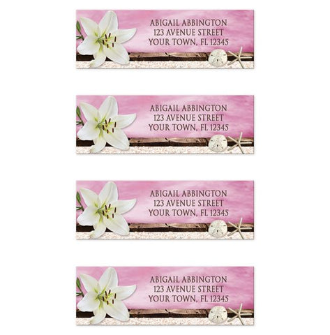 Lily Seashells Sand Magenta Beach Address Labels