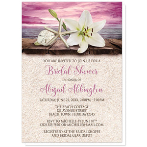 Lily Seashells Sand Magenta Beach Bridal Shower Invitations at Artistically Invited