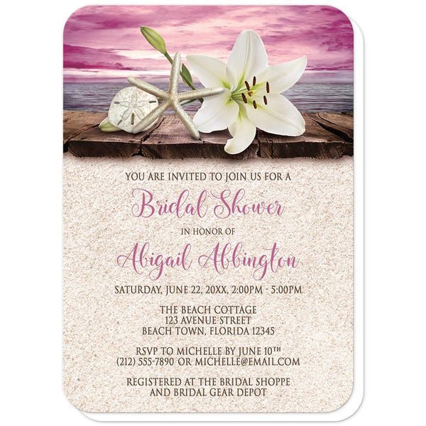Lily Seashells Sand Magenta Beach Bridal Shower Invitations (rounded corners) at Artistically Invited