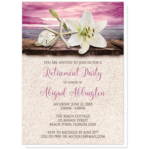 Lily Seashells and Sand Magenta Beach Retirement Invitations at Artistically Invited