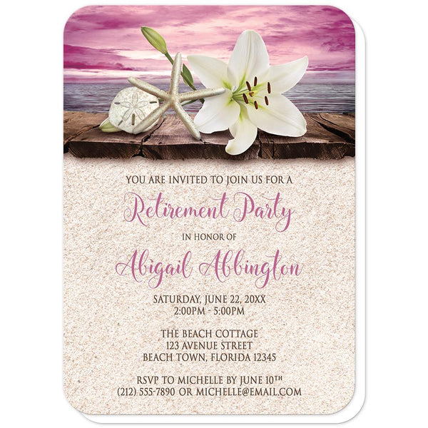 Lily Seashells and Sand Magenta Beach Retirement Invitations (rounded corners) at Artistically Invited
