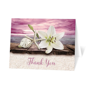 Lily Seashells Sand Magenta Beach Thank You Cards at Artistically Invited