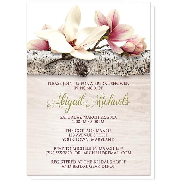 Magnolia Bridal Shower Invitations - Magnolia Birch Light Wood Floral Bridal Shower Invitations at Artistically Invited