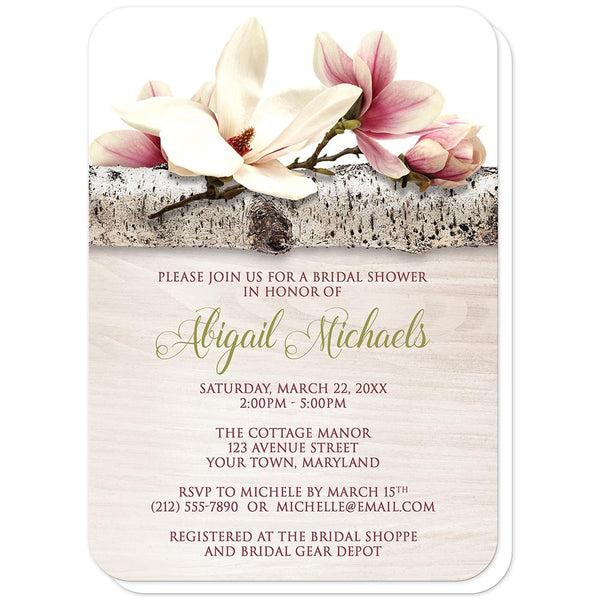 Magnolia Birch Light Wood Floral Bridal Shower Invitations (rounded corners) at Artistically Invited