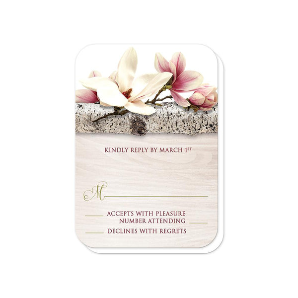 Magnolia RSVP Cards - Magnolia Birch Light Wood Floral - Magnolia RSVP Cards (rounded corners) at Artistically Invited