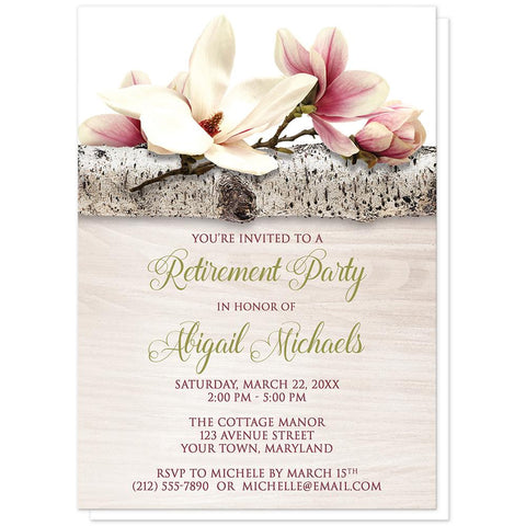 Magnolia Birch Light Wood Floral - Magnolia Retirement Invitations at Artistically Invited