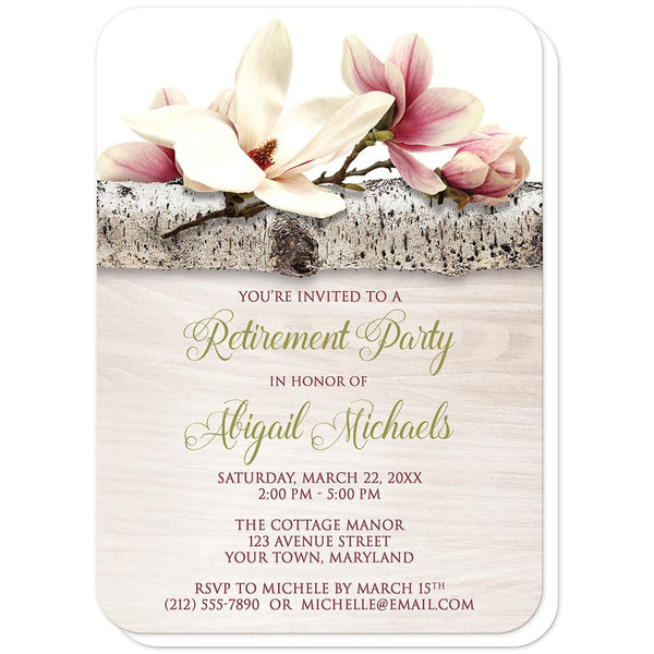 Magnolia Birch Light Wood Floral - Magnolia Retirement Invitations (rounded corners) at Artistically Invited
