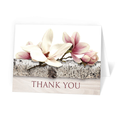 Magnolia Birch Light Wood Floral - Magnolia Thank You Cards at Artistically Invited