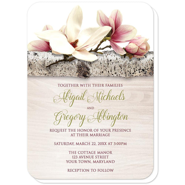 Magnolia Wedding Invitations - Magnolia Birch Light Wood Floral - Magnolia Wedding Invitations (rounded corners) at Artistically Invited
