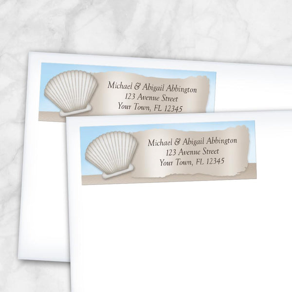 Seashell in the Sand Beach Address Labels at Artistically Invited - Message from a Bottle Beach design
