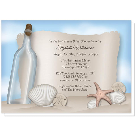 Beach Message from a Bottle Bridal Shower Invitations at Artistically Invited