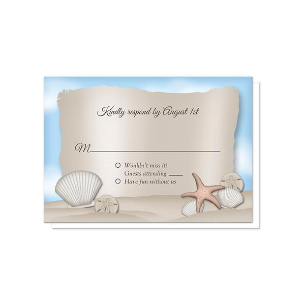 Beach RSVP Cards for the Message from a Bottle Beach Wedding Invitations at Artistically Invited