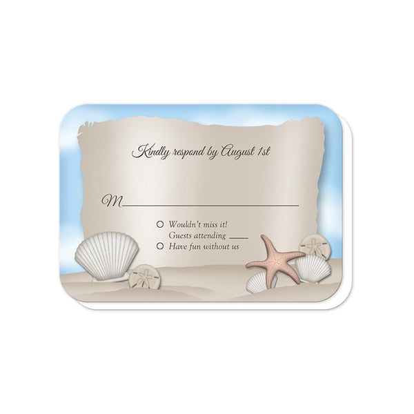 Beach RSVP Cards (rounded corners) for the Message from a Bottle Beach Wedding Invitations at Artistically Invited