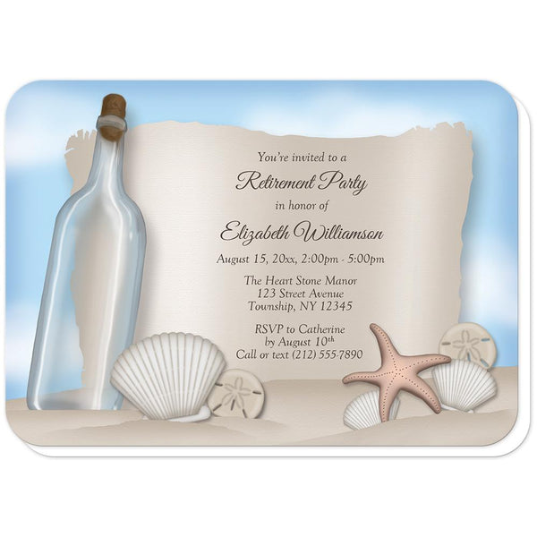 Message from a Bottle Beach Retirement Invitations (rounded corners) at Artistically Invited