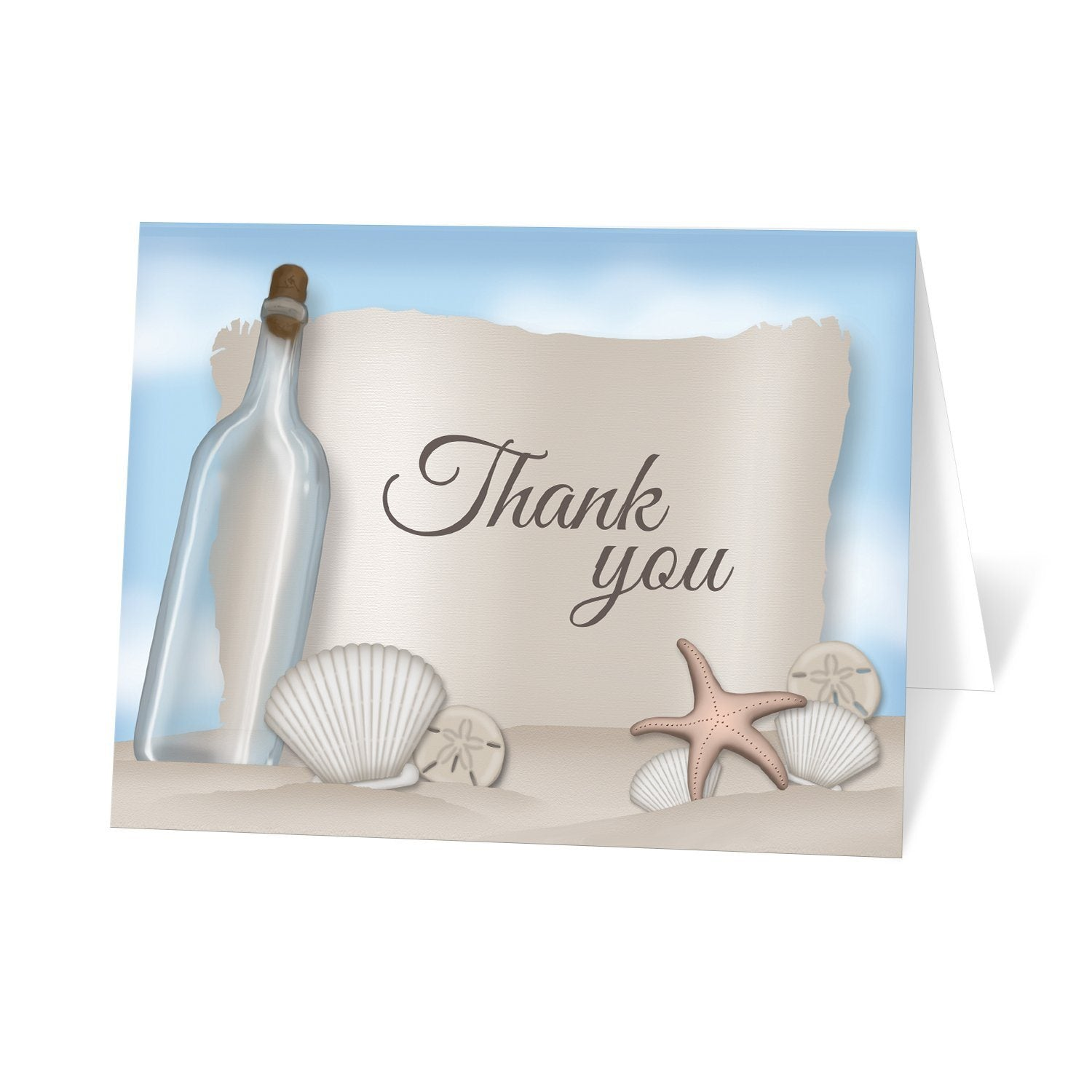Beach Thank You Cards - Message from a Bottle Beach Thank You Cards at Artistically Invited