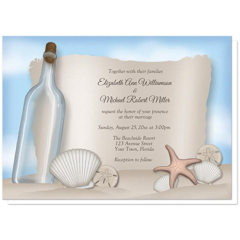 Beach Wedding Invitations - Message from a Bottle Beach Wedding Invitations at Artistically Invited