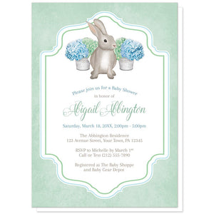 Rabbit Baby Shower Invitations - Mint Green Blue Hydrangea Rabbit Baby Shower Invitations at Artistically Invited