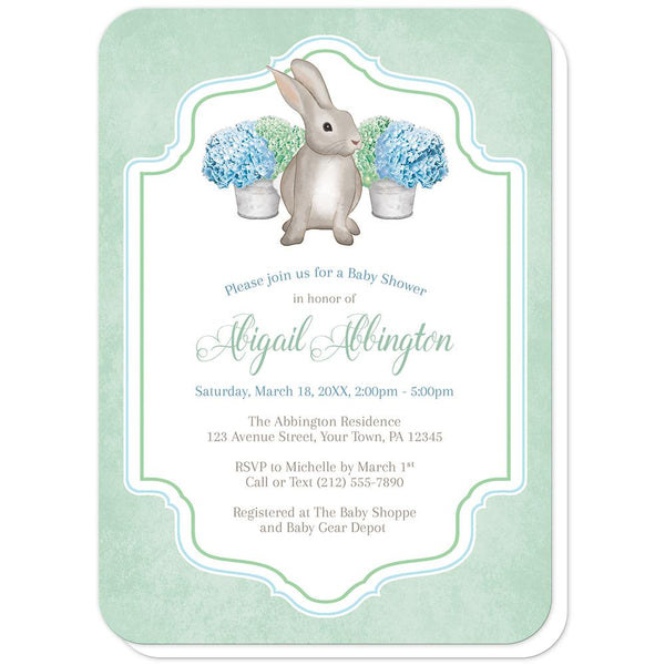 Rabbit Baby Shower Invitations - Mint Green Blue Hydrangea Rabbit Baby Shower Invitations (rounded corners) at Artistically Invited