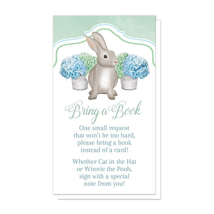 Rabbit Bring a Book Cards - Mint Green Blue Hydrangea Rabbit Bring a Book Cards at Artistically Invited