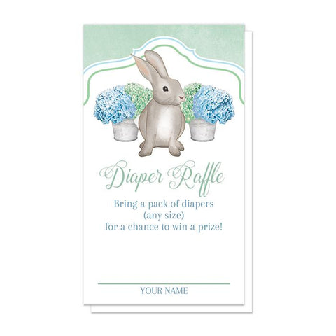 Rabbit Diaper Raffle Cards - Mint Green Blue Hydrangea Rabbit Diaper Raffle Cards at Artistically Invited