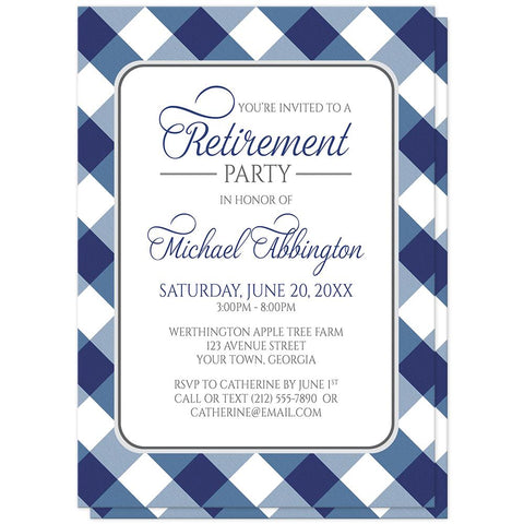 Navy Blue Gingham Retirement Invitations at Artistically Invited