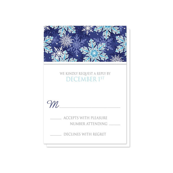 Navy Blue Aqua Snowflake Wedding RSVP Cards at Artistically Invited
