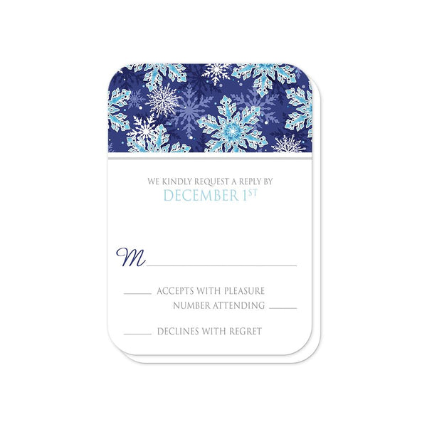 Navy Blue Aqua Snowflake Wedding RSVP Cards (rounded corners) at Artistically Invited