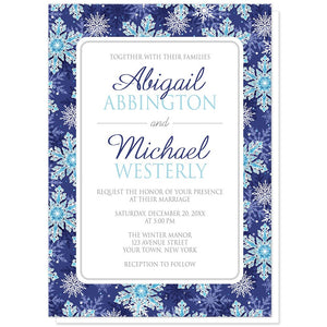 Navy Blue Aqua Snowflake Wedding Invitations at Artistically Invited