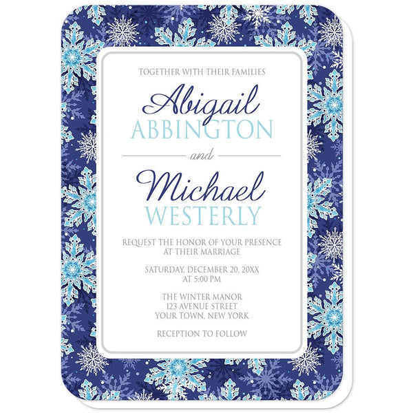 Navy Blue Aqua Snowflake Wedding Invitations (rounded corners) at Artistically Invited