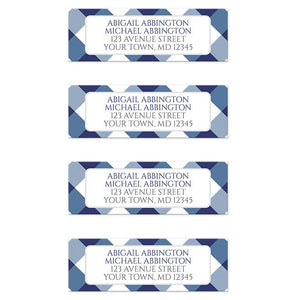 Navy Blue Gingham Return Address Labels at Artistically Invited