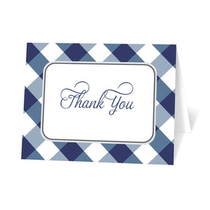 Navy Blue Gingham Thank You Cards at Artistically Invited