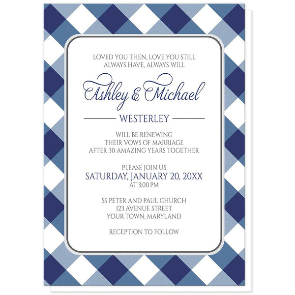 Navy Blue Gingham Vow Renewal Invitations at Artistically Invited