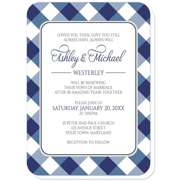 Navy Blue Gingham Vow Renewal Invitations (rounded corners) at Artistically Invited