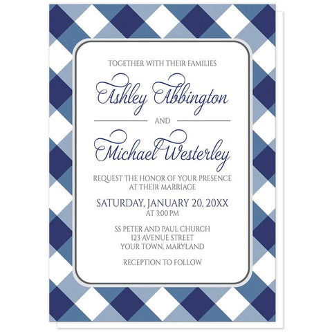 Navy Blue Gingham Wedding Invitations at Artistically Invited
