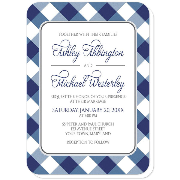 Navy Blue Gingham Wedding Invitations (rounded corners) at Artistically Invited