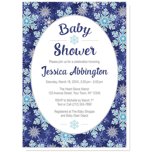Navy Blue Snowflake Baby Shower Invitations at Artistically Invited