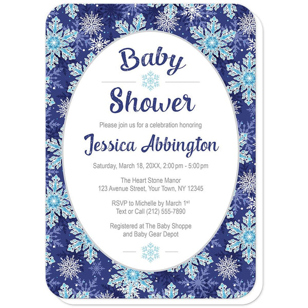 Navy Blue Snowflake Baby Shower Invitations (rounded corners) at Artistically Invited