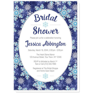 Navy Blue Snowflake Bridal Shower Invitations at Artistically Invited